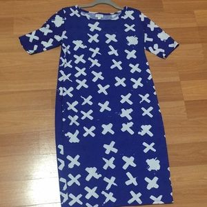 NWOT blue and white Lularoe Julia Dress